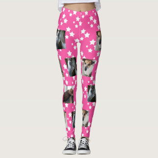 Photo Template Leggings | Pink with White Stars
