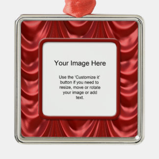 Photo Template - Luxurious Red Ruched Satin Fabric Silver-Colored Square Decoration