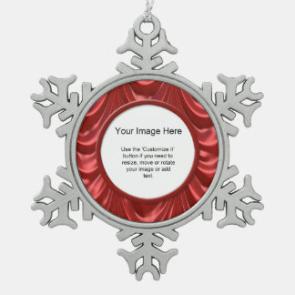 Photo Template - Luxurious Red Ruched Satin Fabric Snowflake Pewter Christmas Ornament