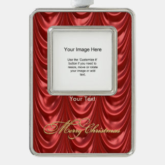 Photo Template - Luxurious Red Ruched Satin Fabric Silver Plated Framed Ornament