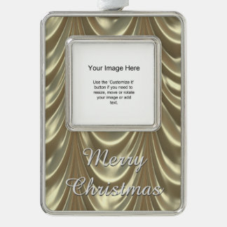 Photo Template - Metallic Gold Ruched Satin Fabric Silver Plated Framed Ornament