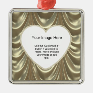 Photo Template - Metallic Gold Ruched Satin Fabric Silver-Colored Square Decoration