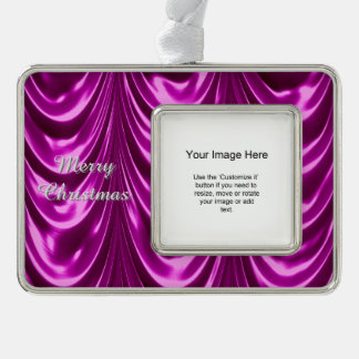 Photo Template, Radiant Orchid Ruched Satin Fabric Silver Plated Framed Ornament
