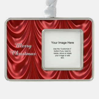 Photo Template - Red Ruched Satin Fabric Scallops Silver Plated Framed Ornament