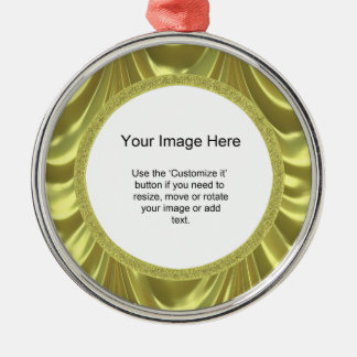 Photo Template - Yellow Ruched Satin Fabric Round Metal Christmas Ornament