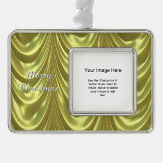 Photo Template - Yellow Ruched Satin Fabric Silver Plated Framed Ornament