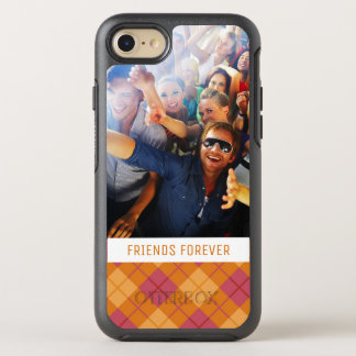 Photo & Text Bias Plaid in Orange and Pink OtterBox Symmetry iPhone 8/7 Case