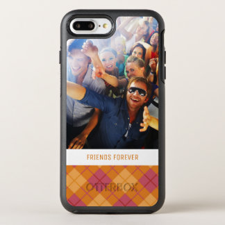 Photo & Text Bias Plaid in Orange and Pink OtterBox Symmetry iPhone 8 Plus/7 Plus Case
