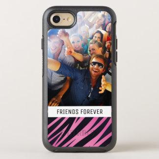 Photo & Text Pink Zebra Stripe Background OtterBox Symmetry iPhone 8/7 Case