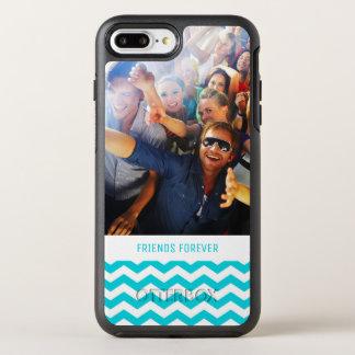 Photo & Text White and Aqua Zig Zag Pattern OtterBox Symmetry iPhone 7 Plus Case