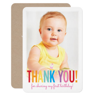 PHOTO THANK YOU cute bold type fun colorful Card