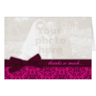 Photo thank you damask wedding dark pink card note card