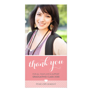 PHOTO THANK YOU lovely type graduate coral Personalised Photo Card