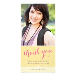 PHOTO THANK YOU lovely type graduate yellow grey Photo Card Template