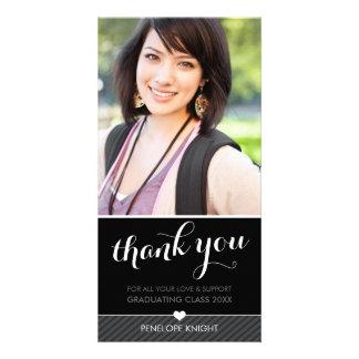 PHOTO THANK YOU script type graduate black white Customised Photo Card