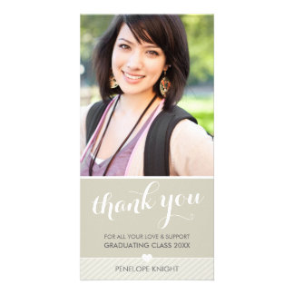 PHOTO THANK YOU script type graduate cute natural Personalised Photo Card