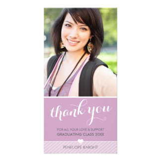PHOTO THANK YOU script type graduate cute purple Customized Photo Card