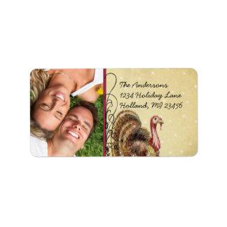 Photo Thanksgiving Greetings Vintage Turkey Address Label