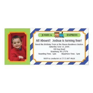 Photo Train Ticket - Blue Stripes Card