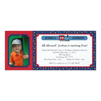 Photo Train Ticket - Red & Blue 10 Cm X 24 Cm Invitation Card