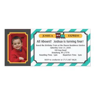 "Photo Train Ticket - Teal Stripes 4"" X 9.25"" Invitation Card"