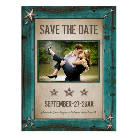 Photo Turquoise Barn Wood Save The Date Cards