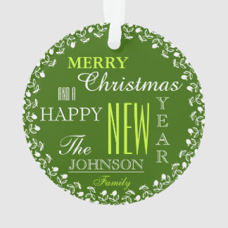 Photo Typography Christmas Ornament