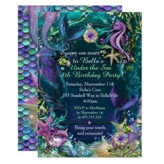 Photo Under the Sea Mermaid Birthday Invitations