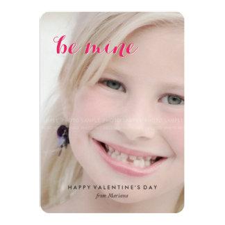 "Photo Valentines Day Be Mine School Valentine Kids 5"" X 7"" Invitation Card"