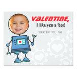 Photo Valentine's Day Card   Robot Theme 11 Cm X 14 Cm Invitation Card