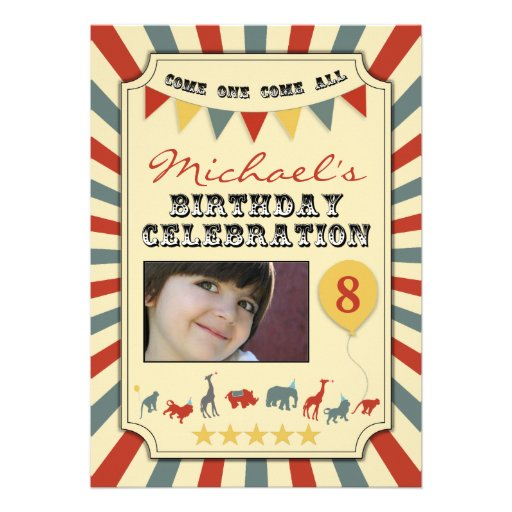 Photo Vintage Circus Birthday Party Invitations