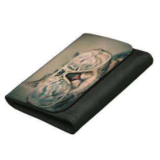 Photo Wallet: Funny Cat with Glasses Leather Wallets