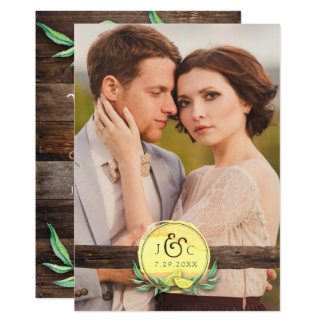 PHOTO WEDDING INVITATION | Rustic Barn Wood Lemon