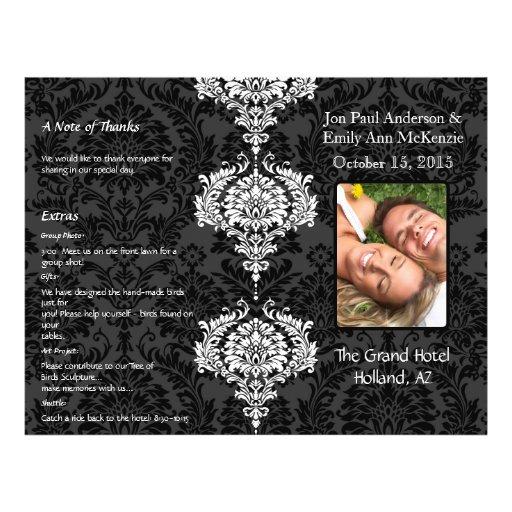 Photo Wedding Program Black Grey & White Damask Full Color Flyer