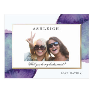 Photo Will You Be My Bridesmaid | Watercolor Gold Postcard