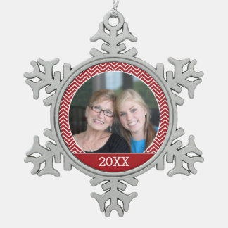 Photo with a Trendy Border and Custom Year Snowflake Pewter Christmas Ornament