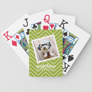 Photo with Chevron Pattern and Custom Name Bicycle Playing Cards