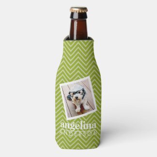 Photo with Chevron Pattern and Custom Name Bottle Cooler