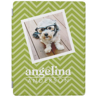 Photo with Chevron Pattern and Custom Name iPad Cover