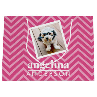 Photo with Chevron Pattern and Custom Name Large Gift Bag