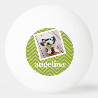 Photo with Chevron Pattern and Custom Name Ping Pong Ball