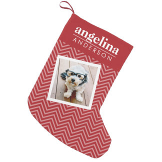 Photo with Chevron Pattern and Custom Name Small Christmas Stocking