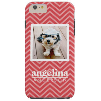 Photo with Chevron Pattern and Custom Name Tough iPhone 6 Plus Case