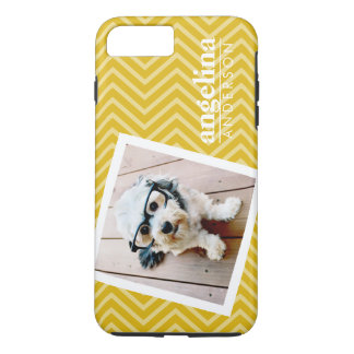 Photo with Gold Chevron Pattern and Custom Name iPhone 8 Plus/7 Plus Case