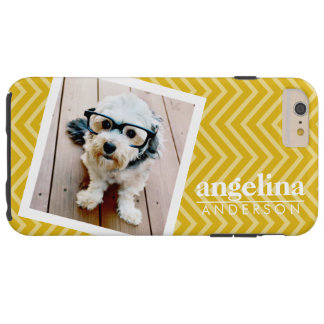 Photo with Gold Chevron Pattern and Custom Name Tough iPhone 6 Plus Case