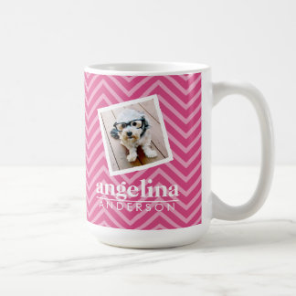 Photo with Hot Pink Chevron Pattern Custom Name Coffee Mug
