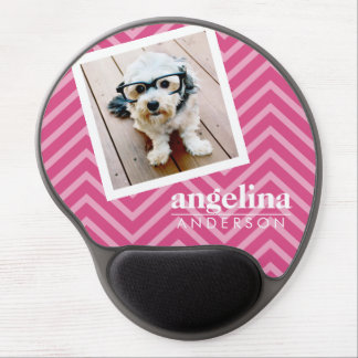 Photo with Hot Pink Chevron Pattern Custom Name Gel Mouse Mat