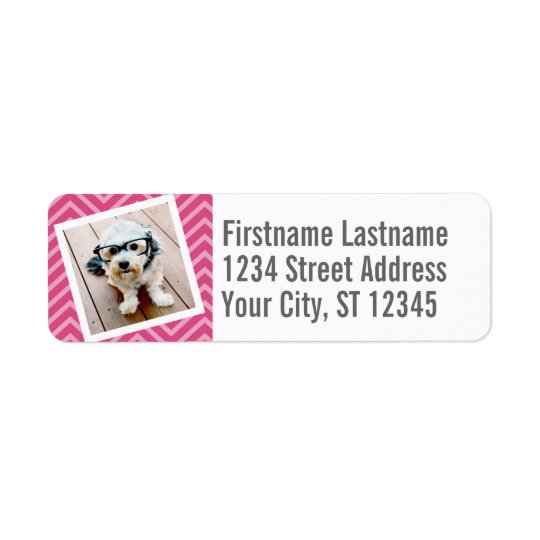 Photo with Hot Pink Chevron Pattern Custom Name Return Address Label