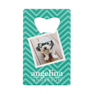 Photo with Modern Chevron Pattern and Custom Name