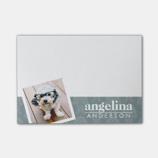 Photo with Modern Damask Pattern and Custom Name Post-it Notes